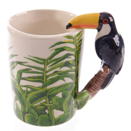 Toucan Shaped Handle Mug with Jungle Decal